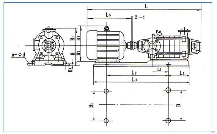 d型泵系卧式多级离心泵结构图